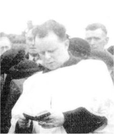 Fr McFadden in 1950, at the funeral of Malachy Conlon MP