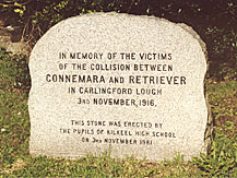 Stone commemorating the victims of the tragedy erected in Kilkeel Graveyard by the pupils of the Kilkeel High School